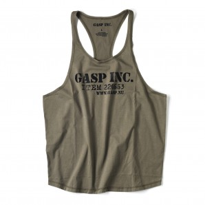 GASP Deep cut tank wash khaki